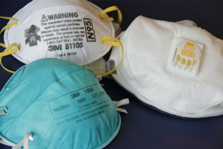 N95 respirator masks filters 95% of small and large particles