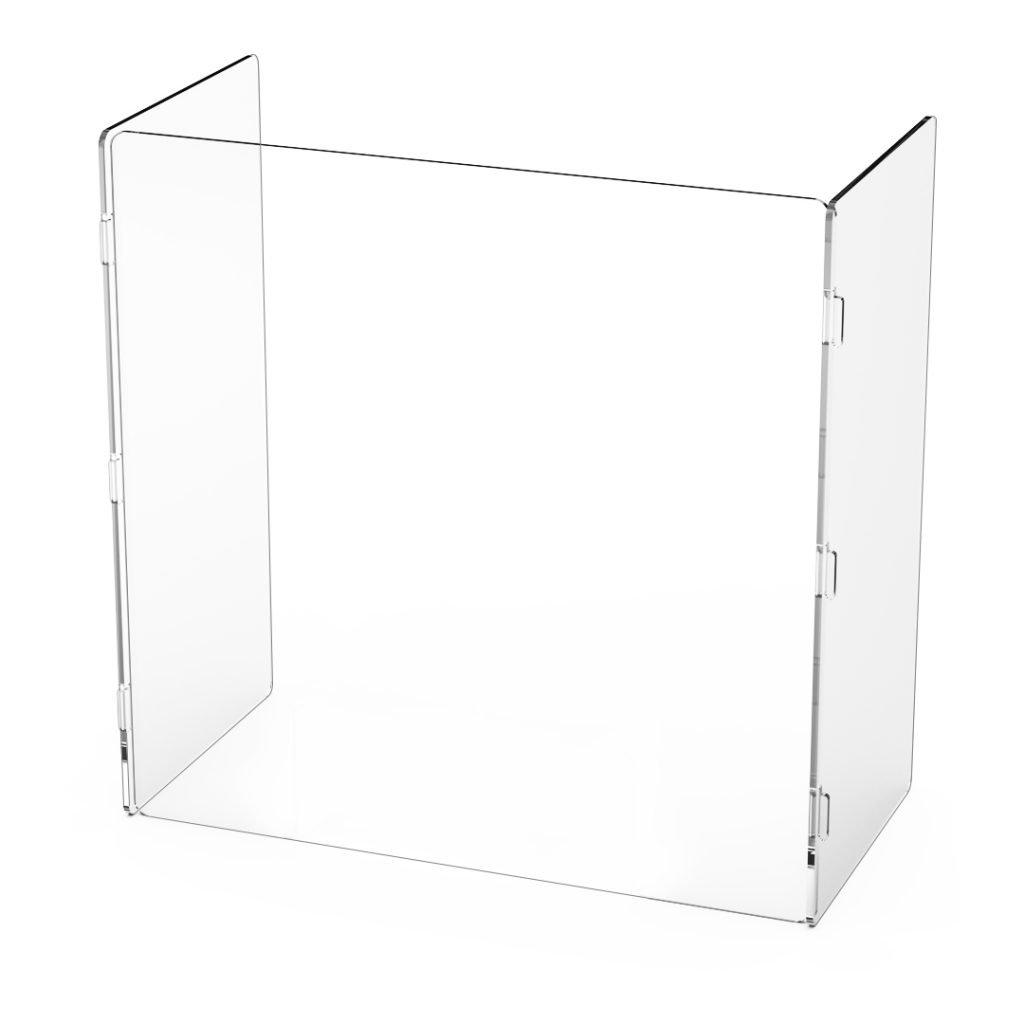 """quarter view 24"""" x 24"""" x 12"""" freestanding desk barrier"""