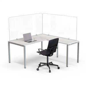 desk with two desk dividers